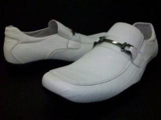 Mens White Buckle Delli Aldo Casual Driving Shoes Styled in Italy: Shoes