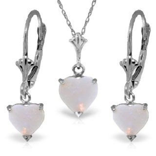 14K White Gold Jewelry Set   Necklace and Earrings w/ Natural Heart shaped Opals: Jewelry