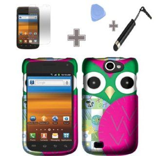 Rubberized Black Green Purple Silver Owl Eyes Snap on Design Case Hard Case Skin Cover Faceplate with Screen Protector, Case Opener and Stylus Pen for Samsung Exhibit II 4G / T679 / T Mobile: Cell Phones & Accessories