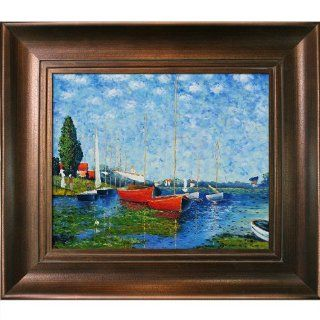 Art MON1022 FR 365G20X24 Claude Monet Red Boats at Argenteuil Painting with Da Vinci Aged Auburn Finish   Oil Paintings