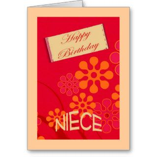 Birthday Niece, retro red flowers Greeting Card