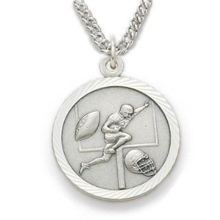 ".925 Sterling Silver Football Medal Pendant, St. Saint Christopher on Back Sports Jewelry w/Chain 20"" Length Rhodium Plated Strong Stainless Steel Necklace, Gift Boxed for Boys, Girls, Men or Women: Jewelry"