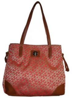 Tommy Hilfiger Women's Tote Handbag Peach/Beige Alpaca, Large Shoes