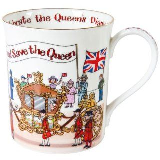 Alison Gardiner Diamond Jubilee Commemorative Fine Bone China Mug: Kitchen & Dining