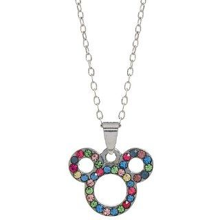 Rhinestone Mouse Head Outline Alloy Pendant Necklace