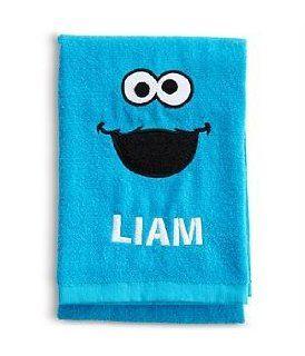 Personalized Sesame Street Blue Bath Towel   Cookie Monster