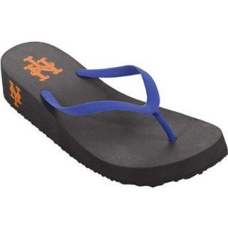 Reebok Women's MLB Sun Shyne Sailor Sandals,Black/Blue (Mets),11 M Shoes