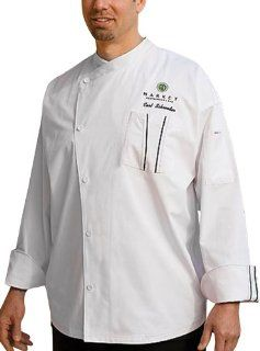 Chef Works SILS WET Amalfi Signature Series Long Sleeve Chef Coat, White with Black Piping, XL