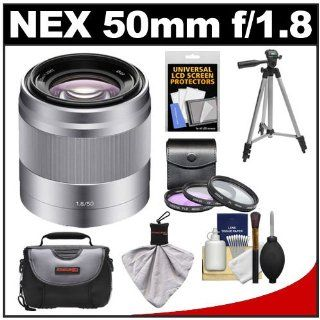 Sony Alpha NEX E Mount 50mm f/1.8 OSS Telephoto Lens (Silver) with 3 UV/FLD/PL Filters + Case + Tripod + Kit for A3000, NEX C3, NEX 5N, NEX 5T, NEX 6, NEX 7 Digital Cameras  Camera Lenses  Camera & Photo