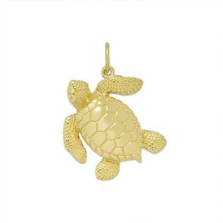 Wyland Turtle Pendant in 14K Yellow Gold   Small Maui Divers of Hawaii Jewelry