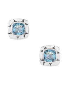 Batu Kali Blue Topaz Square Stud Earrings by John Hardy