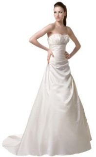 A line Wedding Dress Wedding Dress Ivory Taffeta / White Strapless A line Wedding Dress with Beading Details (4) at  Women�s Clothing store:
