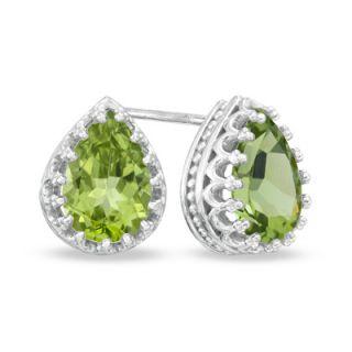 Pear Shaped Peridot Crown Earrings in Sterling Silver   Zales