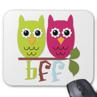 BFF Best Friends Forever Owls Mouse Pad