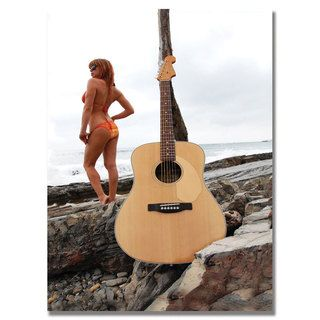 Fender 'Acoustic at the Beach' Canvas Art Trademark Fine Art Canvas
