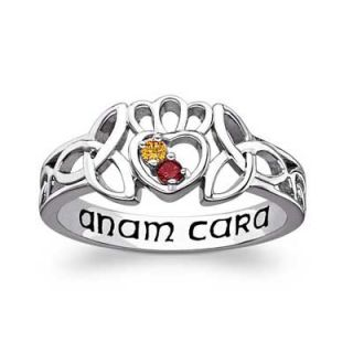Couples Birthstone Celtic Claddagh ANAM CARA Ring in Sterling