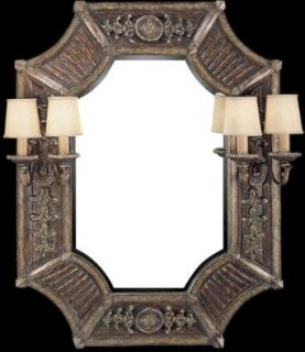 Fine Art Lamps 837755, Stile Bellagio Mirrored Wall Sconce Lighting, 4 Light, 240 Watts, Leather
