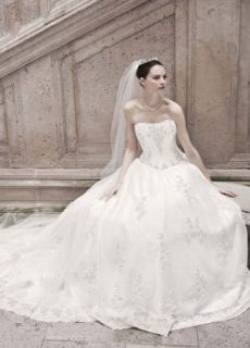 Strapless Organza Ball Gown Wedding Dress with Lace Appliques Ivory, 10 at  Women�s Clothing store