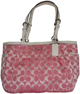 Women's Coach Purse Handbag East/West Gallery Signature Tote Pink/Ivory Clothing
