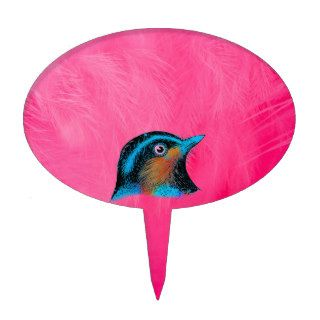 Colorful Girly Pink Feathers Cute Blue Red Bird Cake Toppers