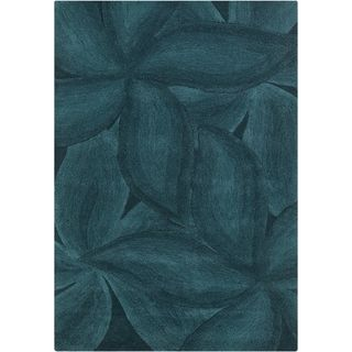 Mandara Contemporary Hand tufted Floral Blue Wool Rug (5 X 76)