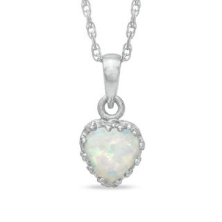 0mm Heart Shaped Lab Created Opal Crown Pendant in Sterling Silver