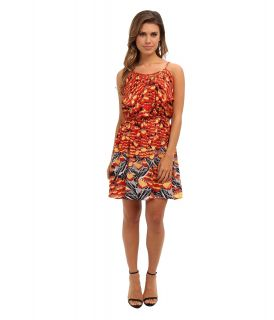 Angie Lattice Trim Print Dress Womens Dress (Orange)