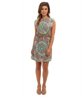 Angie Print Belted Dress Womens Dress (Blue)