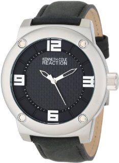 Kenneth Cole REACTION Unisex RK1312 Street Silver Case Black Leather Strap Analog Watch at  Men's Watch store.