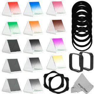 Complete Square Filter Kit Compatible with Cokin P Series   Includes Graduated Color Green, Yellow, Purple, Orange, Pink, Brown, Blue and Red Filters + Graduated ND2, ND4, ND8 and Full ND2, ND4, ND8 Filters + 52, 55, 58, 62, 67, 72, 77MM Adapter Rings + 2