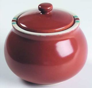 Dansk Mesa Terracotta Sugar Bowl & Lid, Fine China Dinnerware   Mesa, Rust Body,