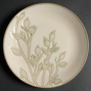 Home Trends Foli Salad Plate, Fine China Dinnerware   Green Leaves On White,Coup
