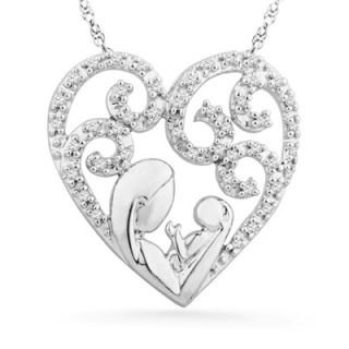 CT. T.W. Diamond Motherly Love Filigree Heart Pendant in Sterling