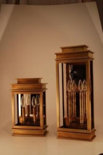 Wall Raw Brass 2 Candelabra Sockets Clear Glass Antique Mirror   Led Household Light Bulbs