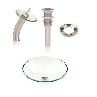 Inello Bathroom Clear Glass Vessel Sink & Brushed Nickel Waterfall Faucet Combo & Matching Pop up Drain & Mounting Ring
