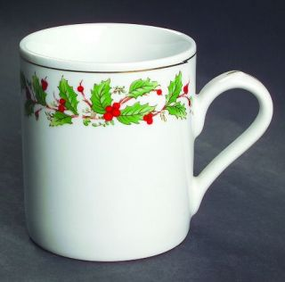 China Pearl Noel (Brown Lettering Backstamp) Mug, Fine China Dinnerware   Green