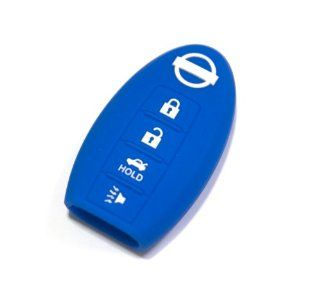 Nissan Blue Silicone Protecting Smart Key Remote Car Case Cover Fob Holder for Teana Sylphy Almera Altima Murano Fairlady Mica 4 Buttons Single Pack Automotive