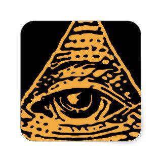 Masonic Illuminati All Seeing Eye Square Stickers