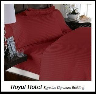 Royal Hotel's Striped Red 600 Thread Count 4pc California King Unattached Waterbed Sheet Set 100 Percent Egyptian Cotton, Sateen Striped, Deep Pocket   Pillowcase And Sheet Sets