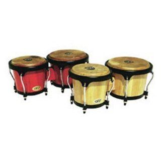 LP Aspire LPA601 RW Wood Bongos (Red/Black): Musical Instruments