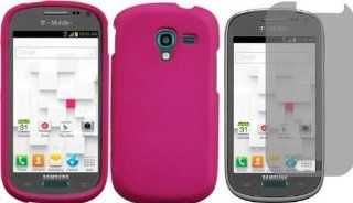 For Samsung Galaxy Exhibit T599 Hard Cover Case Hot Pink + LCD Screen Protector Cell Phones & Accessories