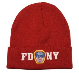 FDNY Winter Hat Police Badge Fire Department Of New York City Red & White One Size Clothing