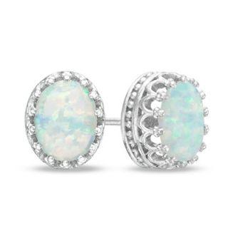 Oval Lab Created Opal Crown Earrings in Sterling Silver   Zales
