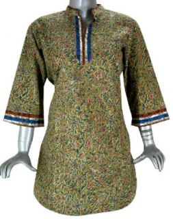 "Kalam Kaari Print Top for Women India Clothing   Length 34"" , Bust 40"" (L): Clothing"