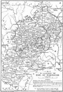 DIOCESE OF WORCESTERPre/post reformation & 1834. WORCESTERSHIRE, 1897 old map   Wall Maps