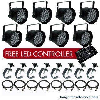 8 Black PAR CAN 64 LED PAR64 C Clamp XLR Cable Controller LED1810   Landscape Spotlights