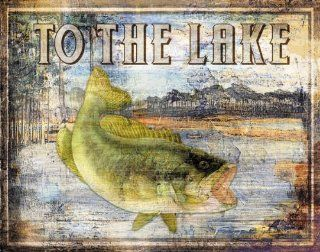 To The Lake Best Painting Pond Cool Bass Fish Beautiful Lake Durable Fishing Trout Poster 14X11   Prints