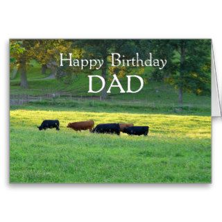 Happy Birthday DAD Cows in pasture. Greeting Cards
