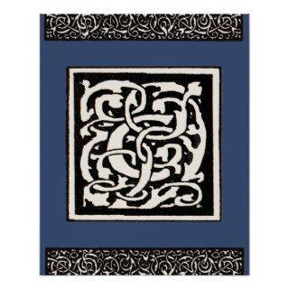 Letra de Nouveau del arte del monograma C del vint Poster de