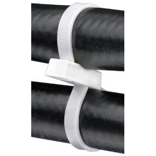 """Panduit PLB4S C Pan Ty Double Loop Cable Tie, Nylon 6.6, Standard Cross Section, Curved Tip, 50lbs Min Tensile Strength, 4.10"""" Max Combined Bundle Diameter, 0.052"""" Thickness, 0.19"""" Width, 14.8"""" Length, Natural (Pack of 100) Industrial"""